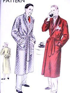 1940s DASHING Gentlemens  Robe Menswear Pattern VOGUE 8753 Elegant Deep Shawl Collar Lounging Bathrobe Medium Size Vintage Sewing Pattern FACTORY FOLDED