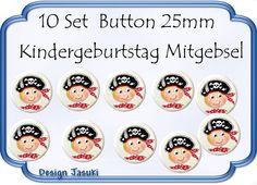 10 Set Button Pirat ,Kindergeburtstag Mitgebsel von Jasuki auf DaWanda.com