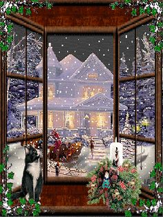 Stunning image - - from the clip art category animated Christmas Cards gifs & images! Christmas Scenes, Noel Christmas, Christmas Music, Christmas Images, Christmas Greetings, Winter Christmas, Vintage Christmas, Christmas Cards, Christmas Decorations