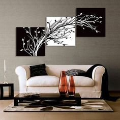 Abstract the black and white flowers decorative painting plum is the wind canvas modern art of three pieces -   Price: $ 21.88    size: 50cm*50cm=3 pieces=19.4inch*19.4inch (if you want fast way to receive the goods before the Christmas Day! please contact us we have other way for you choose) Pure color clear picture. Adds vitality and aesthetic for your home Material: canvas cloth   Packing: rolled up...
