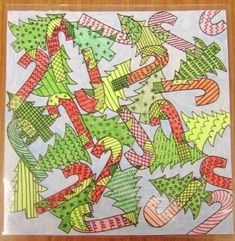 Christmas Overlaping Lesson. Could have kids build the overlapping composition with their single candy cane or tree.