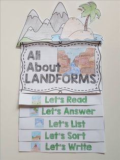 Teaching Landforms: Hands-on activity ideas for kids, no-prep engaging landform resources, and a FREEBIE landform activity. First Grade Science, Primary Science, Science Topics, Teaching Science, Science Activities, Writing Activities, Science Ideas, Teaching Aids, Elementary Science