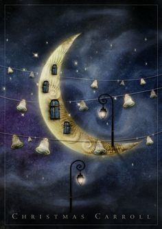 Christmas Carroll by elfka Aka Agnieszka Szuba Sun Moon Stars, Sun And Stars, Fantasy Kunst, Fantasy Art, Illustrations, Illustration Art, Art Beauté, Good Night Moon, Moon Magic