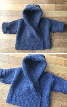 Baby Hooded Wrap Cardigan – Knitting Pattern – Stricken ist so einfach wie Easy Knitting Patterns, Knitting For Kids, Baby Patterns, Free Knitting, Baby Knitting, Crochet Baby, Knitting Needles, Knitted Baby Cardigan, Knit Baby Sweaters