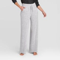 Women's Perfectly Cozy Wide Leg Lounge Pants - Stars Above™ Light Gray M : Target Yoga Pants Outfit, Rolled Hem, Pull On Pants, Lounge Pants, Lounge Wear, Wide Leg Pants, Wide Legs, Pants For Women, How To Wear