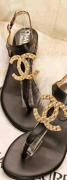 Chanel Logo Thong Sandals | LBV ♥✤