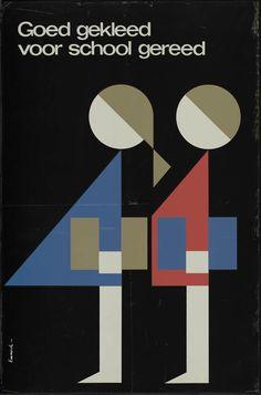 school poster by L. Emmerik (1960's).  De tijd dat ik goed gekleed voor school gereed werd gemaakt!!!
