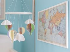 world map - above the changing table? white washed with a phrase.