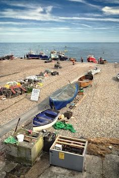Fishing boats on the beach in the town of Beer in Devon