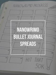 These are the nanowrimo spreads in my bullet journal! They are perfect if you are looking for a spread in your bujo to track your progress with National Novel Writing month or your writing projects in general!