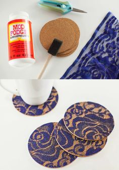 Scraps of lace can make a cool effect on the surface of these easy decoupage DIY coasters. Learn how to make them in a few easy steps.