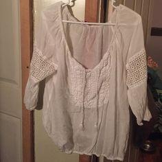 White Crochet Blouse White blouse with crochet details Arizona Jean Company Tops Blouses