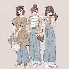 Friend Anime, Anime Best Friends, Cute Art Styles, Cartoon Art Styles, Cute Cartoon Wallpapers, Animes Wallpapers, Anime Art Girl, Manga Art, Drawing Anime Clothes