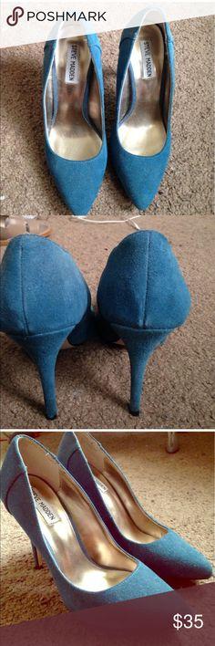 Steve Madden pumps 👠 BEST OFFER❣️ Steve Madden pointy pumps. Blue suede. Great condition! Steve Madden Shoes Heels