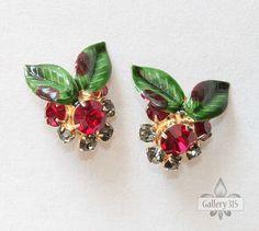 Vintage Hobe Red Rhinestone and Green Enamel Flower by Gallery315, $21.00