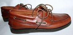 Brown Leather Boat shoes Nantucket Fieldmaster Men 9.5 D NICE #Fieldmaster #BoatShoes
