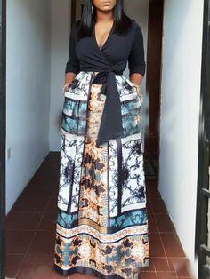 Cheap Dresses for Women, Buy Sweater & Long Fall Dresses Online African Maxi Dresses, Latest African Fashion Dresses, African Print Fashion, African Attire, Long Fall Dresses, Classy Dress, Traditional Dresses, Quarter Sleeve, High Waist