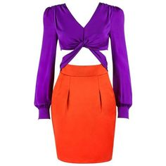 Preowned Gucci S/s 2011 Purple Orange Color Block Knotted Midriff... (8.275 BRL) ❤ liked on Polyvore featuring dresses, purple, red long sleeve cocktail dress, long sleeve purple dress, orange summer dresses, red silk dress and red summer dress