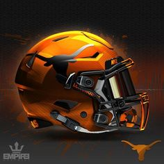 Time to unleash this one. Ive had this pic for 3 weeks now waiting for a good moment to show it off. The shell is a sunset orange metallic pearl paint job. The decals are reflective black. When bright light hits the decals, they turn white. Which UT helme Cool Football Helmets, Football Helmet Design, Sports Helmet, Sport Football, Football Jerseys, Football Quotes, Football Workouts, Custom Football, Football Stuff