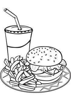 Fast food coloring pages realistic best free sketch coloring Cupcake Coloring Pages, Food Coloring Pages, Adult Coloring Book Pages, Free Coloring, Coloring Books, Scooby Snacks, Printable Coloring Sheets, Healthy Cat Treats, Essen