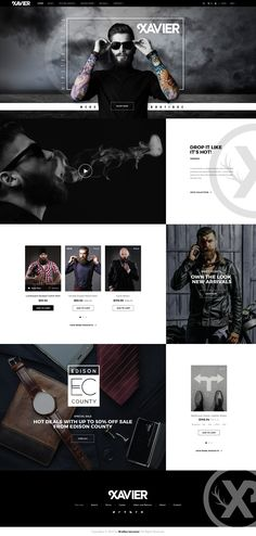 Xavier eCommerce Mens Fashion Website Design  Landing page design for Xavier Mens Boutique.  Hipster style design with a flat modern minimal appearance featuring a custom header.  #apparel  #boutique #fashion  #flat  #hipster #landing #page  #logo #mens  #ui  #ux  #website