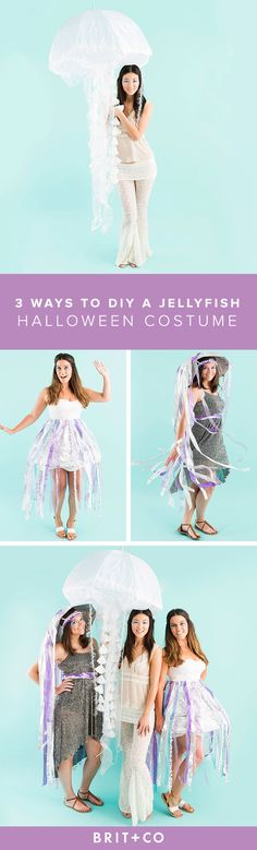 Grab your besties + get ready to spend a night under the sea with these 3 DIY jellyfish Halloween costumes.