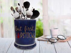 But First Lipstick, Glitter Makeup Brush Holder, Vanity Jar, Beauty Pen Holder, Bathroom Office Organizer, Toothbrush Holder, Desk Organizer
