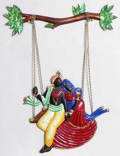 Radha Krishna on a Swing - Wall Hanging (Wrought Iron)) Tanjore Painting, Krishna Painting, Krishna Art, Radhe Krishna, Lord Krishna, Lord Shiva, 3d Art Painting, Pottery Painting, Fabric Painting