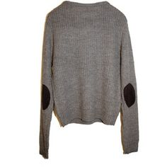 elbow pad grey pullover. comfy, yet classy