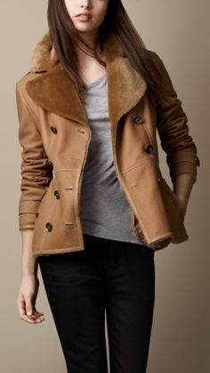 Short Shearling Trench Coat   Burberry