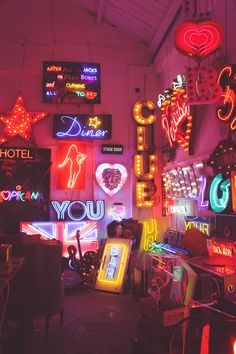 vaporwave room How fun is this neon sign junk yard! Its like a fun neon vintage store, we love it!