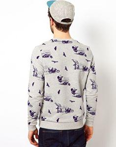 Enlarge ASOS Sweatshirt With All Over Biker Print
