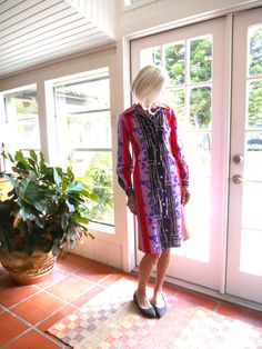 Vintage 1960's polyester knit dress long sleeve abstract print bright colors big…