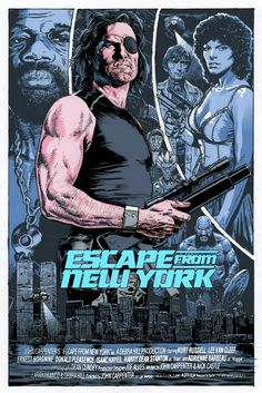 Cool Art: 'Escape From New York' by Chris Weston These awesome posters by Chris Weston, are a private commission for a collective of film poster fans. Best Movie Posters, Classic Movie Posters, Cinema Posters, Movie Poster Art, Poster Drawing, Fiction Movies, Sci Fi Movies, Horror Movies, Science Fiction
