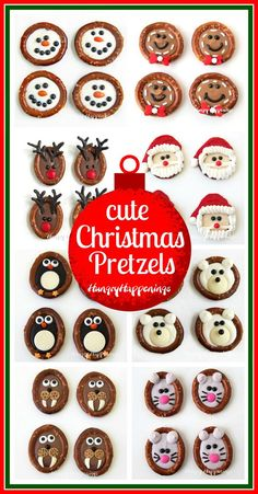 Chocolate Christmas Pretzels never looked so cute. Make one or all of these adorable designs including Snowmen Santa Rudolph Gingerbread Men Polar Bears Penguins Walrus and a Christmas Mouse. Christmas Pretzels, Christmas Food Treats, Holiday Snacks, Xmas Food, Christmas Appetizers, Christmas Sweets, Christmas Cooking, Christmas Goodies, Holiday Cookies