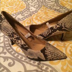 Faux snake skin pump Faux snake skin pump pointed toe Merona Shoes Heels