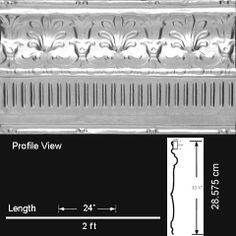 """Decorative Ceiling Tiles, #EM1100 - Papyrus - Tin Cornice - Nail up. Length: 24 3/8""""; Width: 11 1/4"""". (option for cornice D - Top section, would need to cut)"""