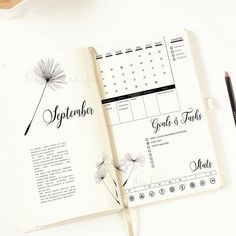 Dandelion Month-to-month Log Printable Bullet Journal Insert Month-to-month Structure Bujo Unfold Purposeful Stickers Months Stickers Bullet Journal Weekly Spread, Planner Bullet Journal, Bullet Journal Inserts, Bullet Journal Ideas Pages, Bullet Journal Inspo, Journal Pages, Bullet Journals, Bullet Journal October 2018, Art Journals