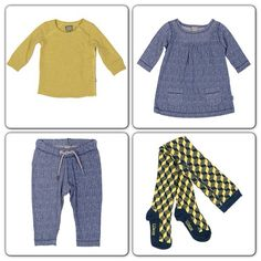 Contrasting blue and yellow look fab together and add a splash of colour into this seasons wardrobe. All available from bluesandbows.co.uk as pictured Zoot organic baby dress, Organic tights in blues and yellow, Zoot organic trouser and Organic Basic stretch Tee in Yellow. Great for boys and girls : )