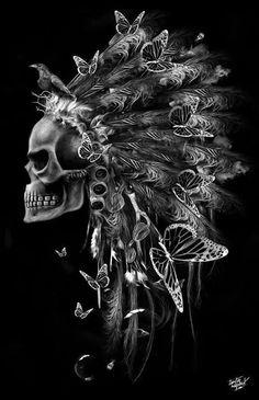Skull with Indian headdress and butterflies. Skull Rock, Skull Art, Skull Head, Totenkopf Tattoos, Desenho Tattoo, Art Graphique, Grim Reaper, Skull And Bones, Vanitas