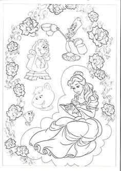 Beauty and the Beast Coloring Pages for Adults Inspirational Beauty and the Beast Coloring Page Free Printable Belle Coloring Pages, Disney Princess Coloring Pages, Disney Princess Colors, Easy Coloring Pages, Free Adult Coloring Pages, Online Coloring Pages, Disney Colors, Coloring Books, Colorful Drawings
