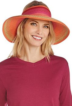 088598f696e Coolibar UPF 50 Womens RollUp Sun Visor Sun Protective One Size OrangePink  -- Click image