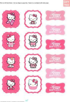 Cupcake toppers hello kitty and valentine day cupcakes on for Hello kitty cupcake topper template