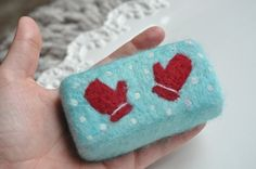 winter soap | winter mittens hand felted soap in cherry spice ... | Red and Aqua Lo ...