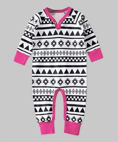 Look what I found on #zulily! Black & Pink Geometric Playsuit - Infant #zulilyfinds