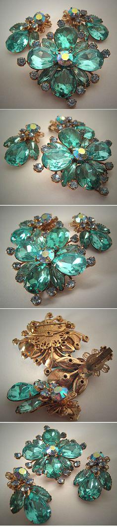 Rhinestone Pin Earrings Signed Cathe Juliana