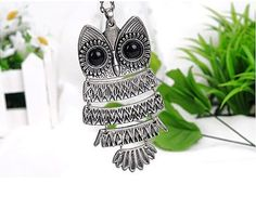 Lovely Silver color Textured Owl Pendant With 25″ Chain Vintage Owl Pendant Long Silvered Chain Necklace Clothes