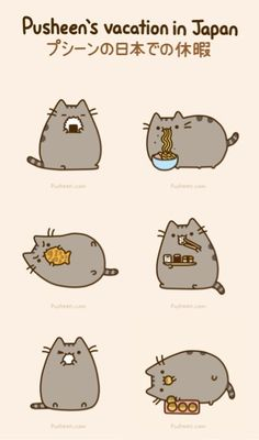 Pusheen: Vacation in Japan Kawaii Pusheen, Gato Pusheen, Kawaii 365, Pusheen Love, Pusheen Stuff, Fat Cat Meme, Funny Cat Memes, Fat Cat Cartoon, Cute Cartoon