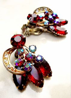 Vintage Red Rhinestone Earrings AB and by RenaissanceFair on Etsy, $17.00