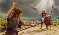 David whirls a sling over his head and runs to meet Goliath..Tha Battle belongs to Jehova!
